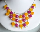 Yellow and violet jade and crystal sterling silver bubble necklace, jade necklace, bib necklace, cascading necklace
