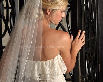 Veil for Brides, Short Veil - Simple Pencil Edge Veil - Elbow or Fingertip Length