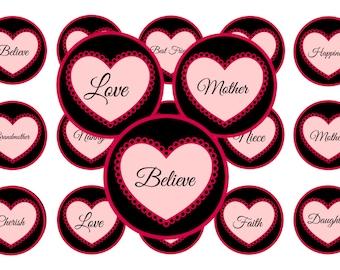 Heart / Family - 1 inch circles