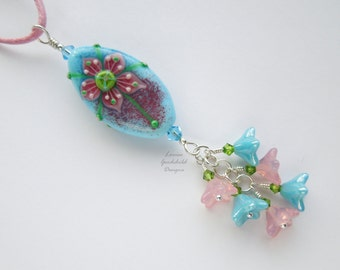 Spring Stroll lampwork flower necklace, pink blue sterling silver lampwork necklace, flower necklace