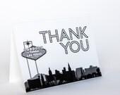 Thank You Card Las Vegas Skyline Wedding Event City Folded Customization Available Black and White