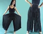 Vintage 80s Palazzo Pants / Sheer Black Evening Pants / Wide Leg Womens Palazzo Pants / Sheer Gauze High Waist Black Palazzo Pants XS / S