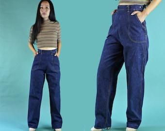 Vintage 50s Jeans / High Waist Jeans Womens Rockabilly Jeans 1950s TUF NUT Jeans / Dark Denim High Waisted Jeans Side Zipper Jeans 25 Waist