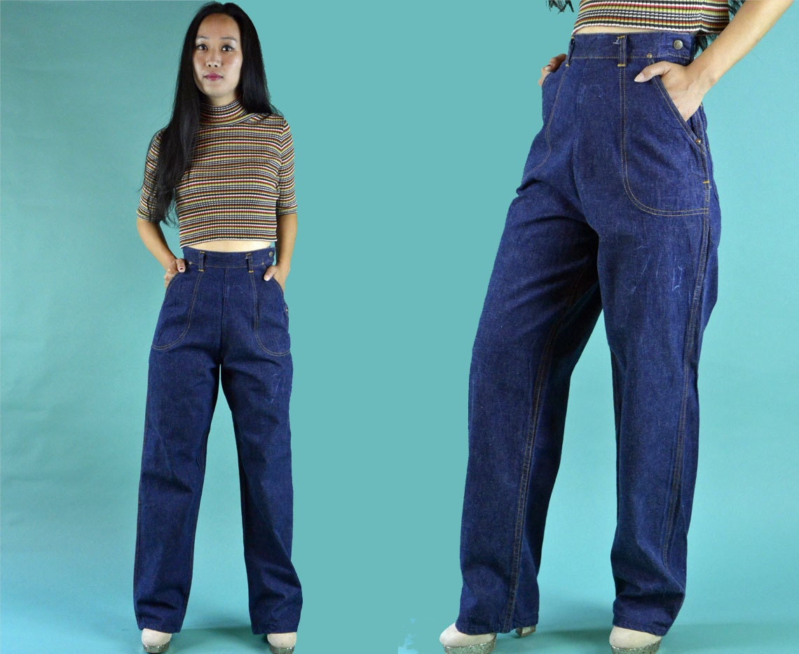 vintage 50s jeans high waist jeans womens rockabilly jeans. Black Bedroom Furniture Sets. Home Design Ideas