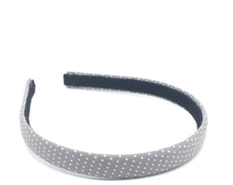 Narrow Headband - Gray and White Polka Dot Headband - Little Girl Headband, Big GIrl Headband, Adult Headband - Back to School Headband