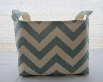 Fabric Organizer Basket Storage Container Bin - Chevron Village Blue Natural