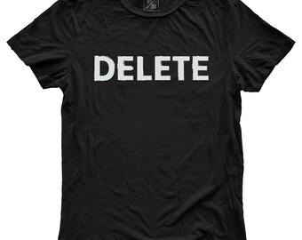 Delete, 100 Percent Cotton Vintage Black T-shirt, unisex