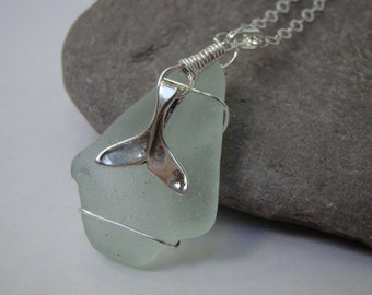 Sterling Silver Whale Tail Necklace - Pale Aqua Sea Glass Pendant -  Beach Glass Jewelry