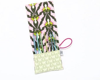 Mini Crochet Hook Case - Charcoal Butterflies - crochet hook organizer crochet hook holder