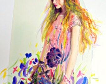 Goddess of The Springtime . Beautiful Original art /collage .