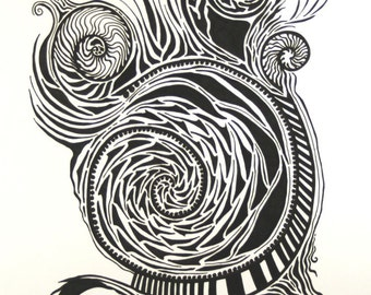 Sprout . Original Drawing . Art Pen Drawing . Abstract Art . Black and White Art