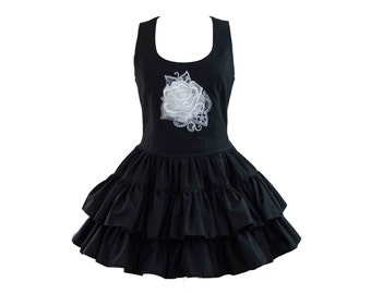 Ghost Rose Embroidered Black Cotton Gothic Dress
