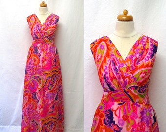 1960s Vintage Chiffon Maxi Dress / Pink Psychedelic Paisley Floral Dress