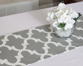 Grey Moroccan Tile Table Runner, Choose Length, Quatrefoil Table Runner,  Grey Modern Table