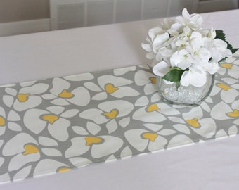 Grey and yellow floral table runner, Choose length, Flower table runner, Wedding table runner, Grey table runner, Summer table runner