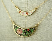 Vintage Bib Crescent Moon Necklaces, Small Necklace Set, Enamel Collar Necklace Choker Cloisonne, Two Layered Necklace Set