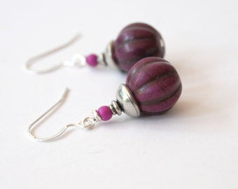 Purple Plum Earrings, Earthy Earrings, Stone Bead Earrings, Acorn Earrings, Pumpkin Earrings, Woodland Earrings