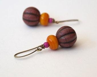 Plum Orange Earrings, Pumpkin Earrings, Purple Plum Earrings, Earthy Earrings, Stone Bead Earrings, Acorn Earrings,  Woodland Earrings