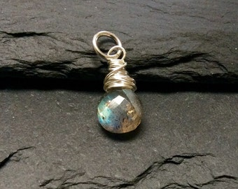 Labradorite Sterling Silver Wire Wrapped  Charm