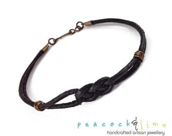 Simple Men's black leather knot friendship bracelet // rugged surf skater style leather with brass // unisex bracelet or anklet //handmade