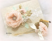 Guest Book, Blush, Ivory, Mint, Gold, Tan,Champagne,Elegant Wedding, Signature Book, Signing Pen,Linen ,Pearls,Crystals, Lace, Vintage Style