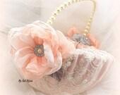 Flower Girl Basket, Ivory, Coral, Peach, Gray, Elegant Wedding, Pearl Handle, Bridal, Round, Large, Lace Basket, Crystals, Vintage Wedding
