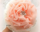 Bridesmaids Bouquets, Ivory, Cream, Peach, Coral, Brooch Bouquet, Maid of Honor, Toss Bouquet, Chiffon, Lace, Pearls, Crystals, Elegant