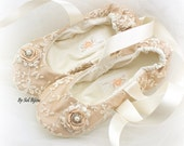 Ballet Flats, Bridal, Wedding, Champagne, Ivory, Lace, Maid of Honor, Flower Girl, Ballerina Flats, Crystals, Pearls, Vintage-Style