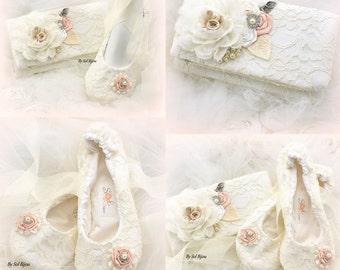 Clutch, Ballet Flats, Cream, White, Ivory, Blush, Elegant Wedding, Bridal, Handbag, Flats, Ballerina Flats, Lace, Pearls, Crystals, Vintage