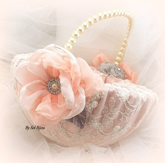 Flower Girl Basket Gray : Flower girl basket blush ivory coral peach gray vintage
