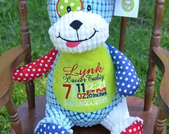 Birth Announcement Baby Keepsake Plush Stuffed Animal Cubbie Personalized Dog, Monkey. Crocodile, Horse, Bear
