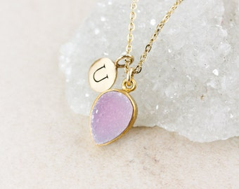 50% OFF SALE - Baby Pink Druzy Necklace - Inverse Teardrop - Initial Charm