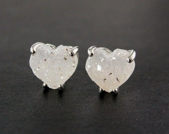 Silver Heart Druzy Studs - Sterling Silver - Choose Your Druzy