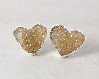 Silver Heart Druzy Studs - Neutral Colours - Choose Your Druzy