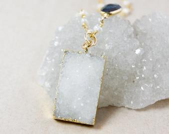 Rectangle Vanilla White Druzy Necklace – London Blue Topaz – White Freshwater Pearls Chain
