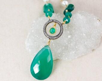 Green Onyx Teardrop Necklace – Pave White Topaz – Green Onyx Chain