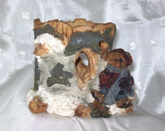 Boyds Bearstone Ambush at Birch Tree Limited Edition Votive Holder