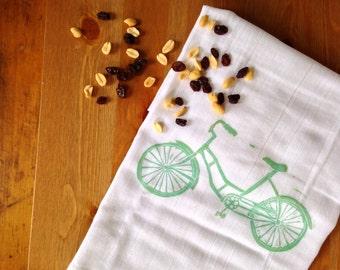 New Design! wood block print bicycle tea towel by color.joy.