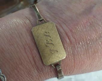 CLEARANCE Vintage Clamper Braelet Sterling Silver Gold Plate Engraved JBL 14.6g Bracelet