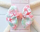 Starfish Pinwheel Bow, Girls Coral Aqua and Mint Starfish Hair Bow, Hair Bow, Beach Hair Bow, Girl's Hair Bow, Pinwheel Hair Bow,  Hair Bow