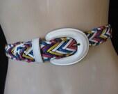 prep rainbow braided belt.  1980's bright woven leather belt w/ leather buckle. medium.