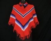 1970's red chevron stripe poncho. 1970's purple stripe children's fringed cape / cloak.