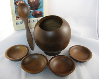 hellerware atomic snack bowl MCM wood madmen nut / candy serving set.