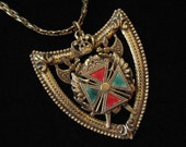 ON HOLD Heraldic Shield Necklace, Crown and  Crossed Ax, Enamel