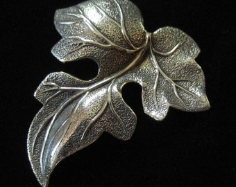 Beau Sterling Leaf Brooch, Realistic Sculptural Leaf