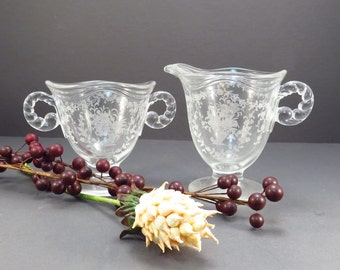 Fostoria Mayflower Footed Creamer and Sugar Vintage 1940s Crystal Glass Set