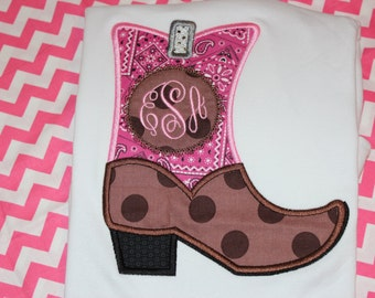 Cowgirl boot with Initials western shirt or ruffle dress- rodeo time