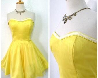Vintage 1980s Dress Yellow Mesh Sweetheart Strapless Dress Bridesmaid Party Mini Sun Dress S