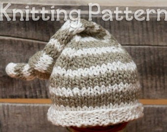 PDF Pattern- Newborn Knit Hat Photo Prop- Organic Cotton Stocking Cap