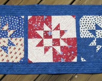 Patriotic Table Runner Quilt, Red White and Blue Quilted Table Runner, Disappearing Hour Glass Quilt Quiltsy Handmade